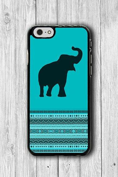 Color Indico Elephant Aztec iPhone 6 Case, Animal Art iPhone 6 Plus Cover, iPhone 5S, iPhone 4S Hard Case, Rubber Cover Art Accessories Gift #23