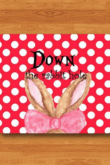 Rabbit Quote Down The Rabbit Hole Polkadot Mouse Pad Watercolor Mousepad Red Polka Dot Art Work Computer Office House Desk Deco Teacher Gift#2-36